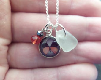 Orange Butterfly Necklace with White Scottish Sea Glass, Gift from Scotland, Resin Pendant