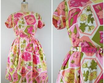 Vintage 1960s Dress / Pink Floral Dress / 60s Cotton Dress / Medium