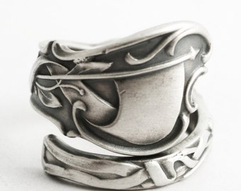 Roman Olympics Ring, Sterling Silver Spoon Ring, Roman Ring, Flag and Torches, Unique Gift for Him or Her, Adjustable Ring Size 7 -14 (6601)
