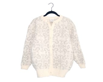 Vintage Hilda Ltd. 100% Wool Buttercream & Gray Snowflake Pattern Button Up Cardigan Sweater, Made in Iceland - Medium