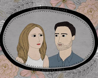 Couples Portrait Bespoke Order Wedding Gift