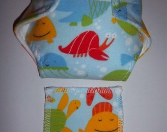 Baby Doll Diaper/wipe - cute underwater sea creatures, air bubbles - adjustable for many dolls such as bitty baby