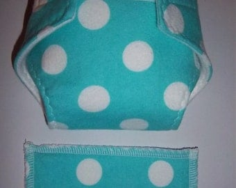 Baby Doll Diaper/wipe - medium white polka dots on turquoise - adjustable for many dolls such as bitty baby