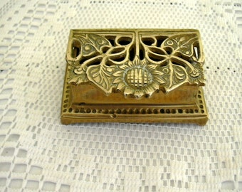 Vintage Solid Brass Stamp Box Art Nouveau Style Reproduction Double Compartment Sunflowers Openwork Hinged Lid