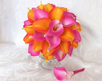 Hot pink and Orange real touch Calla lily wedding bouquet set