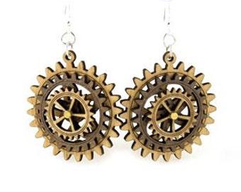 Triple Layered Spinning Kinetic Gears  - Laser Cut Wood Earrings #5004C