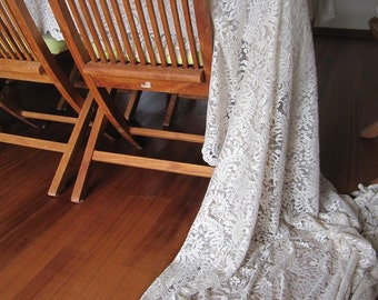 Sheer Lace table topper - tablecloth cotton lace  104 120 144 84 inch large custom tablecloth - rustic wedding table decor
