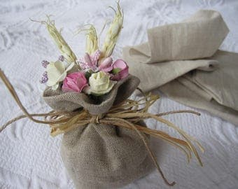 Wedding favor lavender bag - branch paper flower - shabby chic rustic country burlap themed wedding gifts ideas - linen lace linen gifts bag