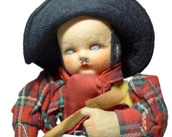 "Vintage 1930s Holzer Cia & Mariposa 12"" Felt Boy Doll Painted Cloth Mask Face"