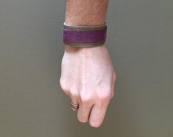 grey and purple minimal wrap bracelet genuine leather - boho hippie gypsy festival wrap leather bracelet - lightweight leather cuff for him