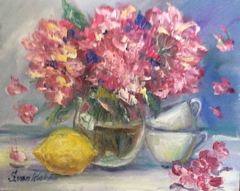 Hydrangeas and  lemon original floral painting oil on canvas 8 x 10""