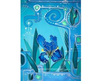 Iris, painted flower, mixed painting, blue room decor, cyan, flags, Paradise, Orpheus, psychology, sacred music, fantasy, Bistra Sirin's Art