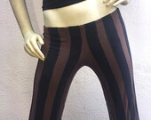 Womens Pants - Steampunk Pants - Gothic Striped Pants - Black and Brown Pants - 30% OFF