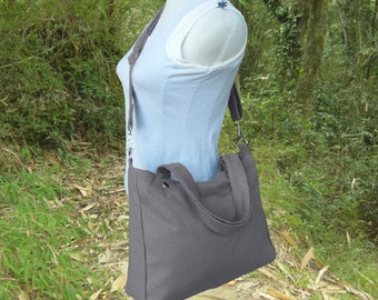 Grey canvas messenger bag, canvas shoulder bag, tote bag for women
