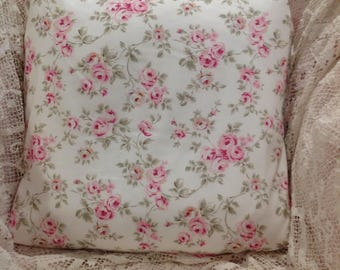 Shabby Chic pillow cover Rachael Ashwell pink roses on white poplin