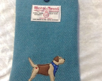 "Border terrier e-reader case, kindle paperwhite 6"", kindle voyage, kobo touch, kobo glo case, sleeve, teal Harris Tweed fabric, dog lover"
