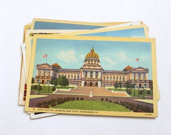 7 Vintage Harrisburg Pennsylvania Postcards Used - Collage, Mixed Media, Scrapbooking, Assemblage, Paper Craft, Art Journal Supplies