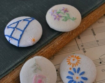 Vintage Handmade Floral Fabric Magnets Set of 4 - #2