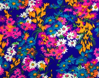 Vintage 60s 70s Hawaiian Floral Fabric Navy blue Neon Pink Orange White Printed Floral Fabric Rare