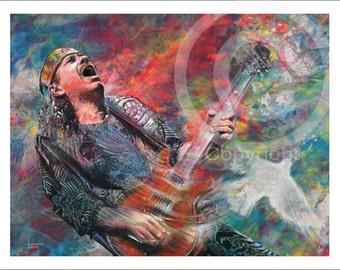 Carlos Santana music art print 29 of guitarist from original  oil painting