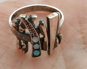 SALE -Vintage sterling silver three Opals,  Modern Abstract Design, Artist made, Hallmarked Ring