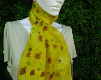 long silk scarf hand dyed silk scarf yellow silk scarf brown green pattern light weight scarf summer scarf