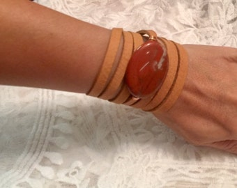 Agate Leather Wrap Bracelet/Choker/Belt/Necklace