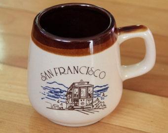 San Francisco CA Mug Cable Car Trolley Brown Glazed Coffee / Tea Cup Souvenir