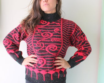 1980s SAVED BY the BELL Geometric Sweater..red. black. colorful. bright. retro. unisex. striped. urban. 1980s sweater. rad. fun. turtle neck