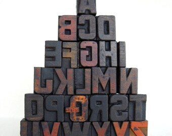 A to Z - Vintage Letterpress Wood Type Collection - 1 inch high - LP81