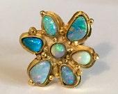 ON SALE Multi australian opal 18k gold vermeil ring ooak
