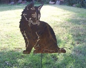 Special listing for Etsy member Christene garden kitty kitten steel sculpture with name and dates.