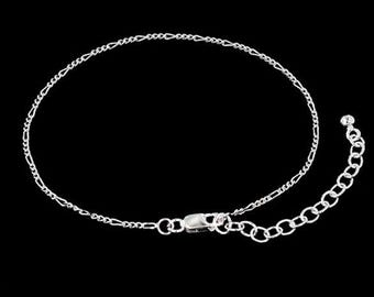 6.5 inches of 925 Sterling Figaro Chain Bracelet 1.3 mm 6.5 - 8 inches adjustable.  Finished Bracelet   :bl0060-6.5