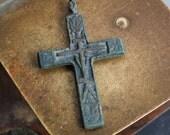 Antique brass bronze cross, Christian Cross pendant. Christian church
