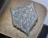 Antique brass filigree plate, part of embellishment, original patina, Star of David