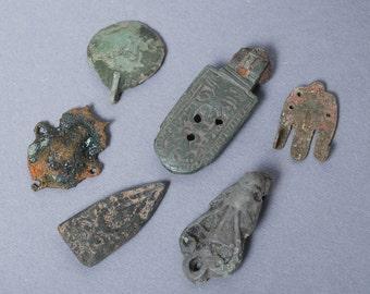 Lot of 6 antique filigree plates, connectors, findings, parts