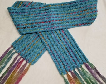 Turquoise Hand Knitted Open Lace Pattern Scarf Woven with Suri Multicolored Ribbon Yarn