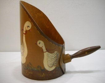 Vintage Hand Painted Tole Large Wooden Decorative Goose Swan Scoop Folk Art FREE SHIPPING