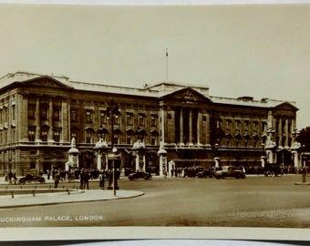 Buckingham Palace Real Photo Postcard, Vintage Sepia RPPC Ephemera c1930s, London England Landmark, FREE SHIPPING