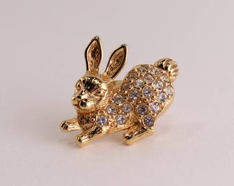 Vintage 1994 Signed Avon Bunny Rabbit Goldtone Clear Crystal Glass Rhinestone Gold Tone Easter Spring Animal Brooch Pin