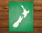 Customized New Zealand Country Art Print, Country Map, Heart, Silhouette, Aged-Look Print