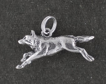 Sterling Silver Wolf Charm Pendant Running Animal Split Ring Attachment 3D