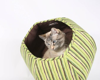 Cat Ball modern pet bed in green stripes cotton fabric - Cat Cave with two openings