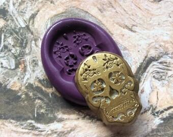 Sugar Skull flexible silicone mold/ fondant/ cake decoration