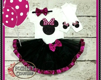 Minnie Mouse birthday outfit, minnie mouse hot pink and black outfit, minnie hot pink bodysuit,minnie mouse pink and black smash cake outfit