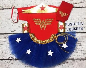 Wonder woman baby costume,Wonder women tutu set, Wonder women toddler Outfit, Wonder women birthday baby tutu,Wonder women tutu,Wonder women
