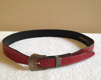 Women's red leather belt, Women's western belt, country western, cow punk