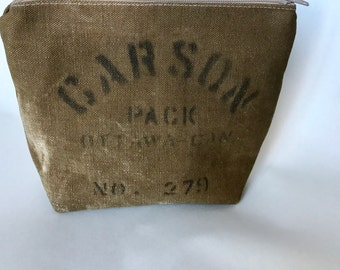 CARSON - reconstructed vintage duffle bag zippered pouch