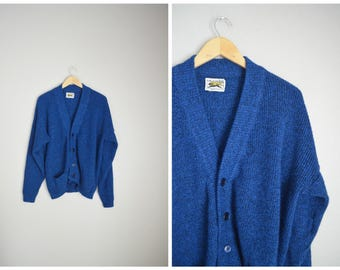 vintage royal blue slouchy oversized cardigan sweater -- womens medium large