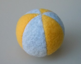 Little Catnip Ball Cat Toy Light Gray and Yellow Fleece